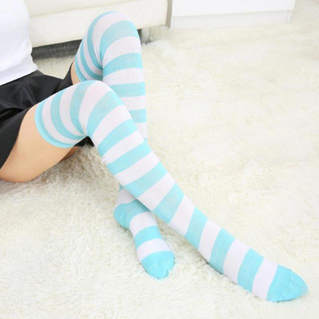 6778d8a39b0 Hot New Sexy Women Girl Striped Cotton Thigh High Stocking Over the Knee  Socks Fashion Stockings For Dating Cosplay