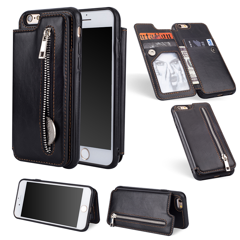 Luxury PU Leather Flip Zipper <font><b>Case</b></font> For iPhone 6 6s 7 8 Plus X XS Max XR Wallet Card Holder Cover for <font><b>Samsung</b></font> Note 9 8 S9 S8 Plus image