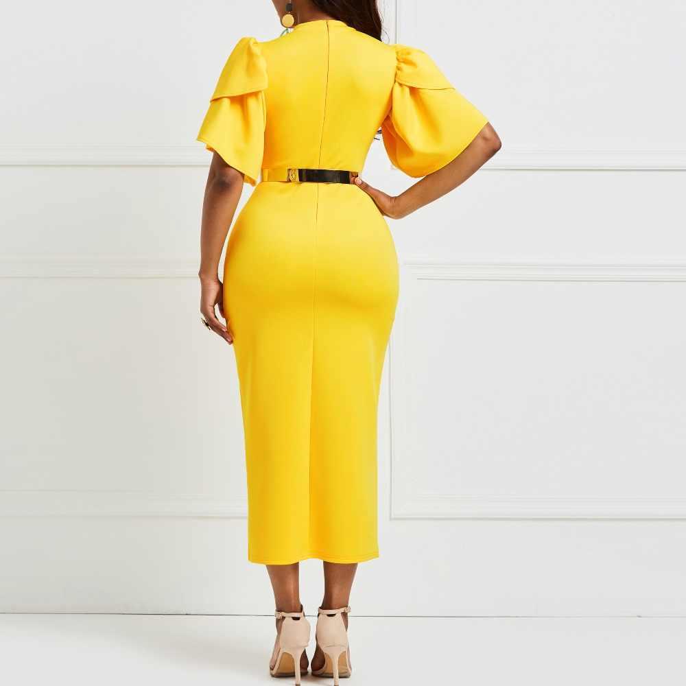 74a59f1884d6f Sisjuly Bodycon Dresses Women Falbala Patchwork Vintage Elegant Sexy Office  Lady Slim Fashion Yellow Working Long Dress Girl