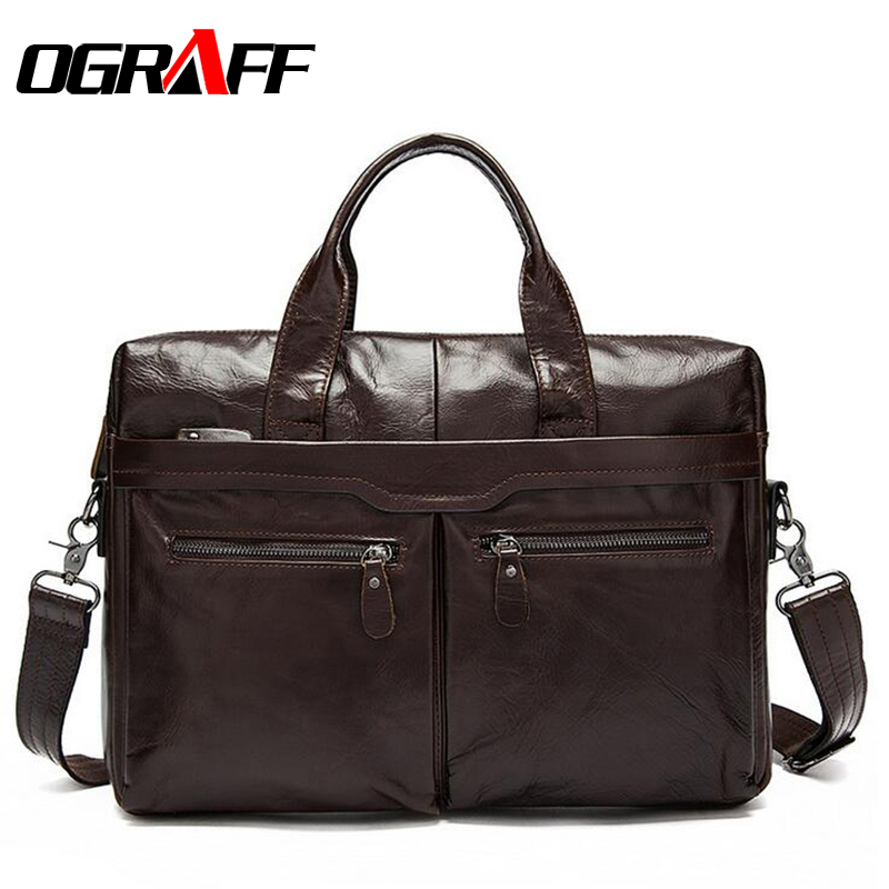 OGRAFF Leather Genuine Men's Bag Men male Handbag Designer Messenger Bag Men Briefcase Men Shoulder Bag