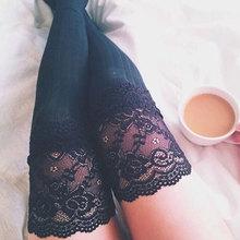 Для женщин тонкий модная одежда для девочек одноцветное мягкий теплый Кружево полые коленей Повседневное Чулки для женщин гетры белый/черный/серый