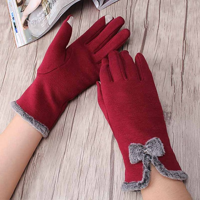 Autumn Winter Cute Bow Warm Full Finger Mittens Female Gloves