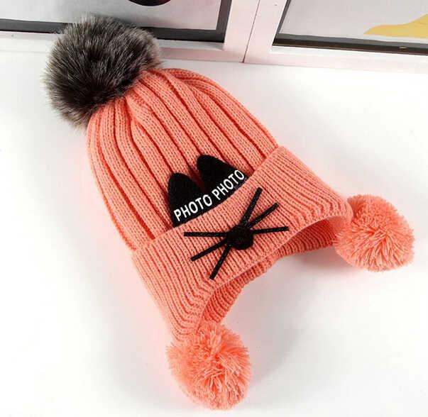 New Toddler Kids Girl Boy Trẻ Sơ Sinh Mùa Đông Ấm Áp Crochet Dệt Kim Hats Beanies Cap Mềm Căng Bóng Dệt Kim Hat Beabie Mũ 0-3Y