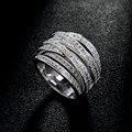 Nueva Moda de Calidad superior AAA Circón Cristal de Mosaico de Múltiples Capas Cruzan Anillo de Plata para Las Mujeres de La Joyería de Lujo