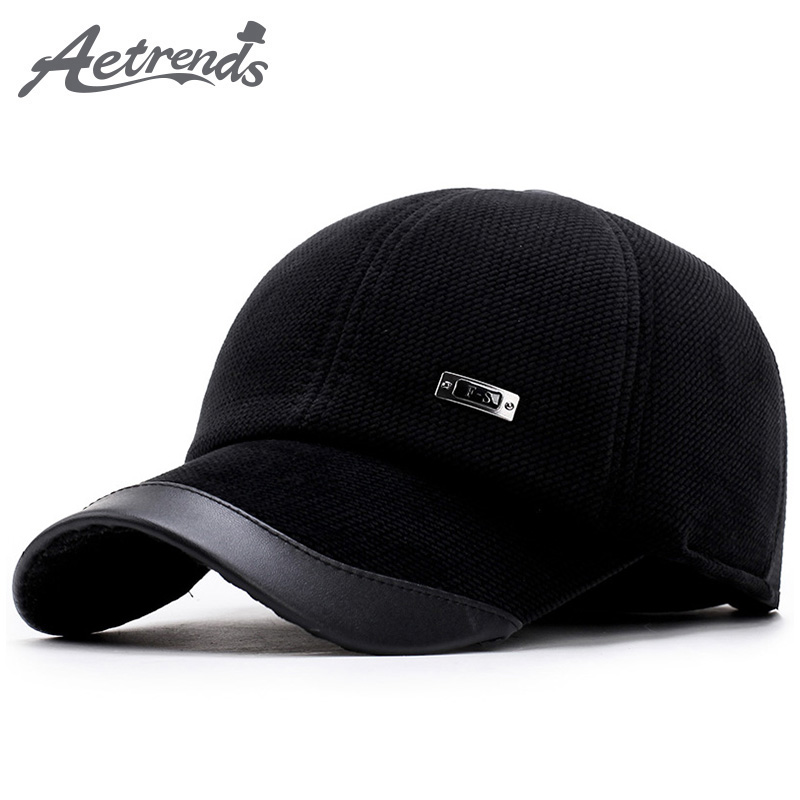 [AETRENDS] Corduroy   Baseball   Hats   Caps   Men Suede   Cap   Dad Hat Thicken with Ear Flaps Bone Masculino Full   Cap   with Ears Z-5890