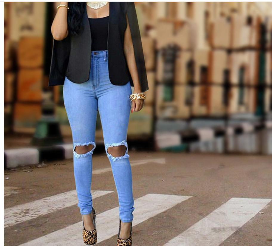 Female High Waist Denim Pants Slim Stretch Pencil Pants Casual Solid Color Full Length Jeans Trousers Ripped Jeans Femme K321 rosicil new women jeans low waist stretch ankle length slim pencil pants fashion female jeans plus size jeans femme 2017 tsl049