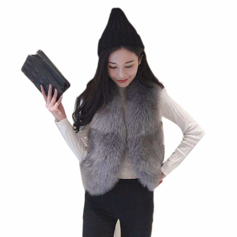 Winter Warm Faux Fox Fur Vest Women High Grade Slim Jacket Womens Faux Fur Outerwear Cardigan Lady Waistcoat Gilet Plus Size