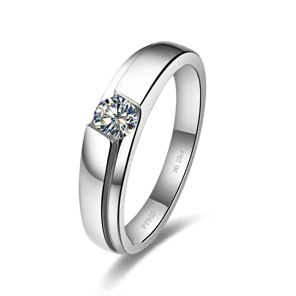 Brief Men Ring Sterling Silver In White Gold Color Male Ring 025ct  Synthetic Diamonds Engagement Ring For Bridegroom