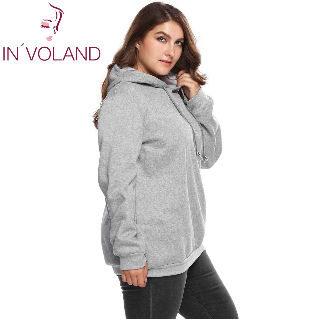 Womens Long Sleeve Outwear Winter,Ladies Hooded Solid Wool Pullover Plus Size Casual Loose Shirt Tops