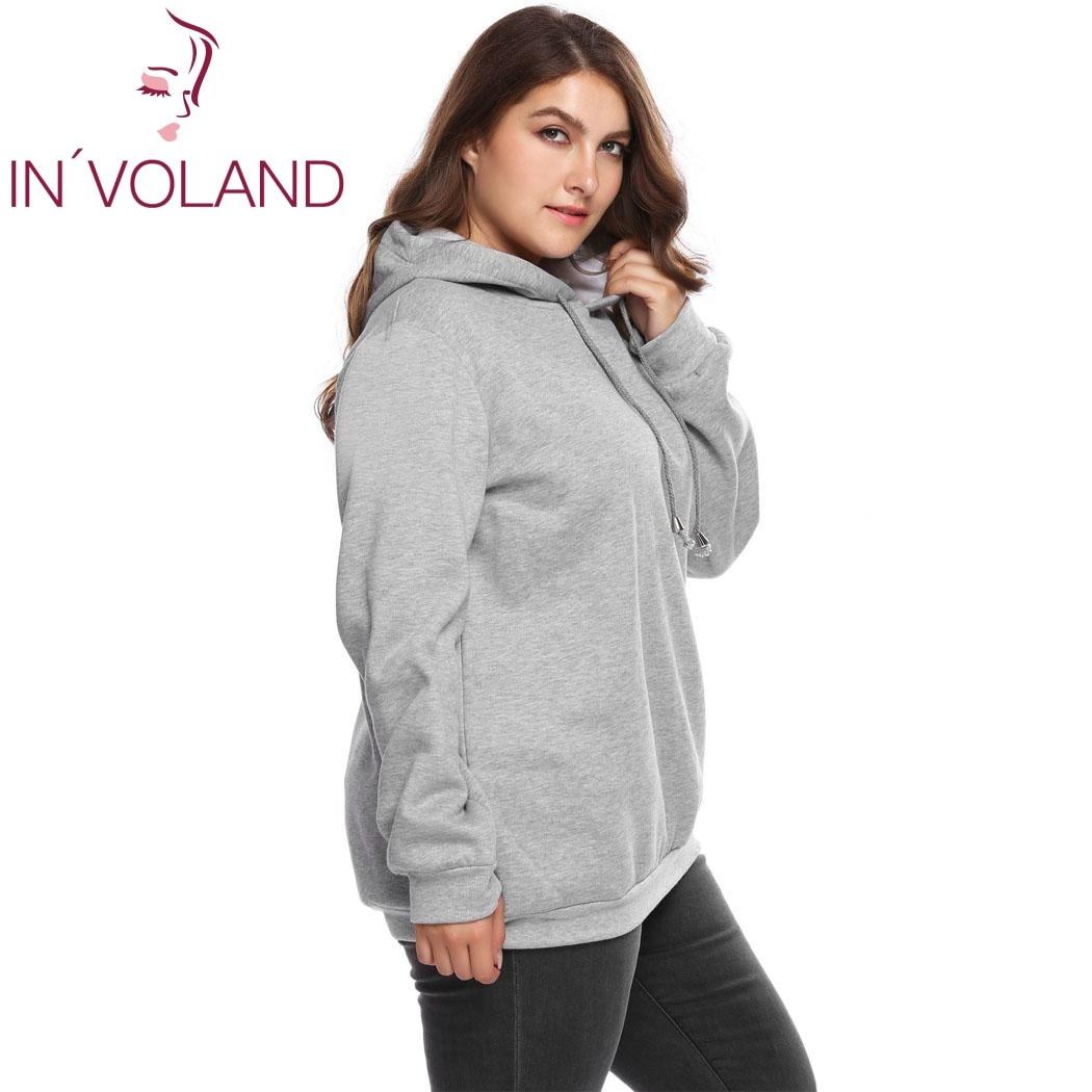 IN'VOLAND Women Hooded Hoodies Plus Size XL-5XL Autumn Spring Long Sleeve Fleece Drawstring Solid Pullover Top Female Sweatshirt