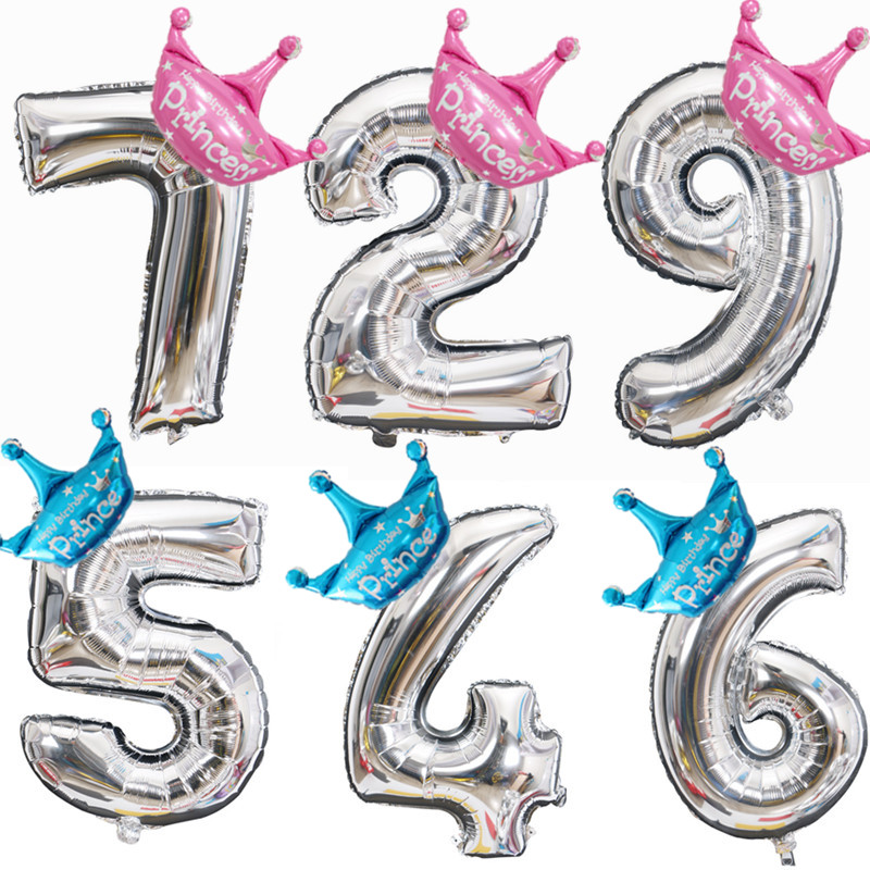 Crown 32 40 Inch Figure Foil Balloons 1 2 3 4 5 6 7 8 9 Years Old Kid Boys Girls Happy Birthday Balloon Baby Shower Decoration