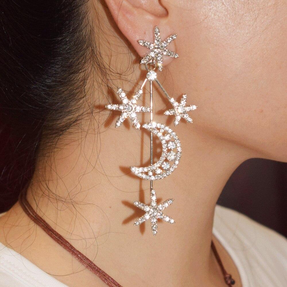 Heißer Verkauf Stunning Strass Sterne Mond Geformt Baumeln Ohrringe Für Frauen Mode Schmuck Perfekte Qualität Sammlung Ohrringe-in Ohrhänger aus Schmuck und Accessoires bei Aliexpress.com | Alibaba Gruppe
