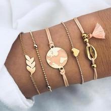 DIEZI, pulseras de amuleto de corazón Bohemian 2019 con mapa de concha, brazaletes para mujeres, Rosa borla, conjuntos de pulseras, regalos de joyería, nuevo Vintage