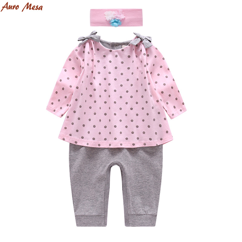 Nya Baby Girls Polka l Romper med hårband 100% Bomull Söt Baby Pink - Babykläder