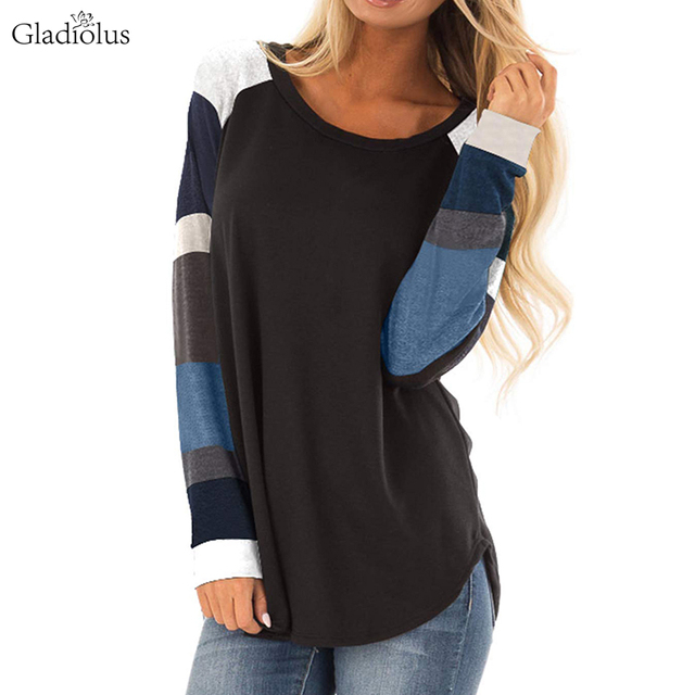 Gladiolus 2018 Women Autumn T-Shirt Striped Long Sleeve O-Neck Multi Color Patchwork Casual T Shirt Women Tops Camiseta Feminina