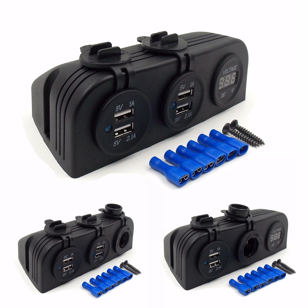 12V DIY Module Panel Splitter Power Adapter Car 5V 2.1A Dual USB Adapter Charger + Cigarette Lighter Sockets + Digital Voltmeter цена