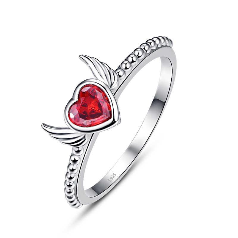 NUNCAD الأزياء 925 الاسترليني الفضة خاتم العقيق الأحمر الحب القلب الملاك الجناح البنصر للنساء الزفاف الجميلة مجوهرات هدية