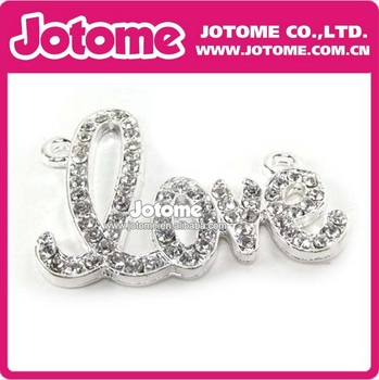 Wholesale Hot Sale Fashion Crystal Rhinestone love letter Pendants for weeding  Free Shipping
