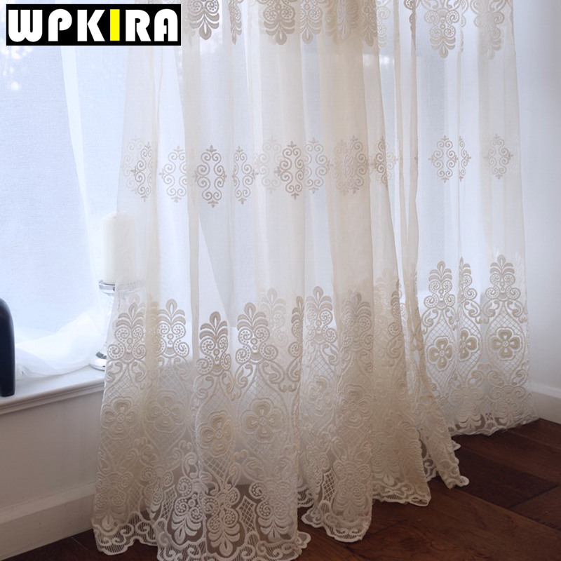 European Embroidered Sheer Curtains For Living Room Window