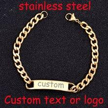 278c7bf70d5a Bebé nombre pulsera personalizada pulsera de acero inoxidable brazalete  Simple grabado nombre lema De Oro pulsera