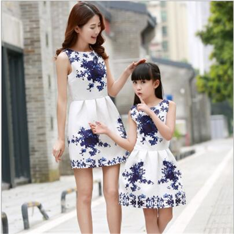 2016 summer family matching mother daughter dresses