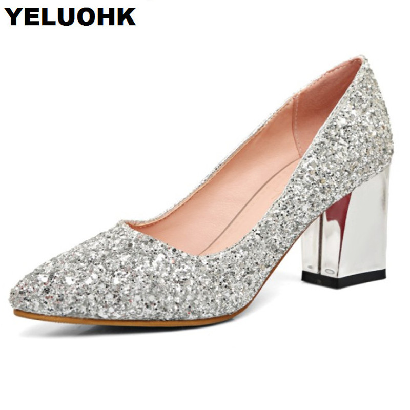 Large Size 43 Glitter Shoes Women Pumps Pointed Toe Wedding Shoes Woman Sexy High Heels Spring Ladies Shoes Slip On