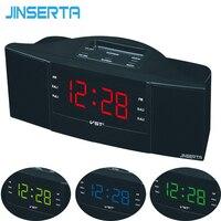 JINSERTA FM/AM Radio avec Snooze Sommeil Fonction D'affichage LED Maison Bureau Radio Réveil UE Plug