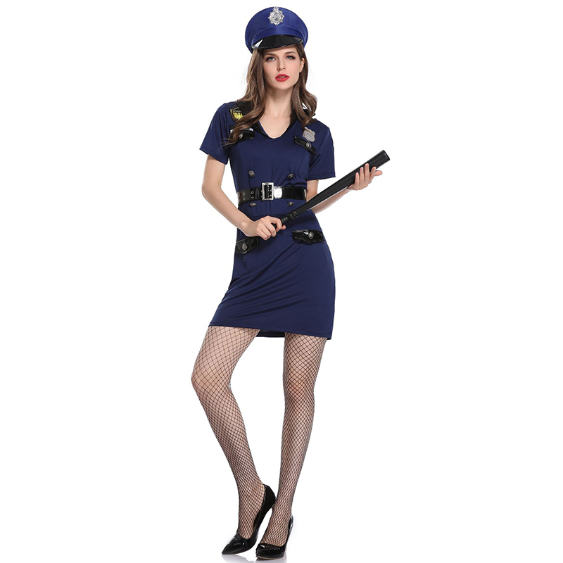Blue Carnival Party Club Cosplay Policewoman Uniform Sexy Police Officer Costume Adult Fancy Dress Halloween Costumes For Women