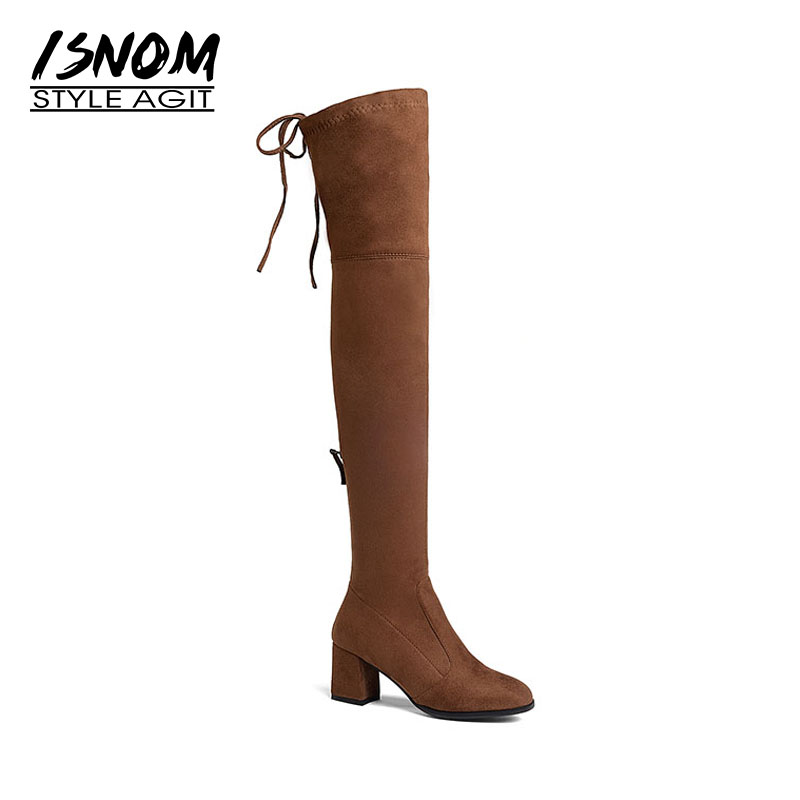 ISNOM Newest Model Lady Over the Knee Boot Zipper Stretch Fabric Long Booties Thick High Heel Woman Shoes Winter Big Size 43