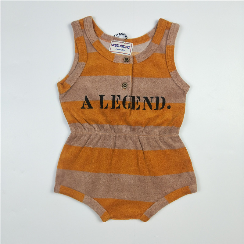 BOBOZONE Striped A legend Letter onesie for girl baby ...
