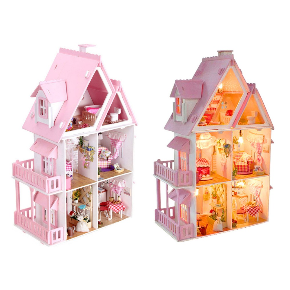 New Arrival Iiecreate Large Wooden Kids Doll House Kit Girls Play