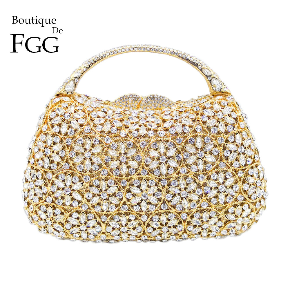 Boutique De FGG Dazzling Snow Hollow Out Women Top Handle Crystal Evening Bags Wedding Clutch Minaudiere