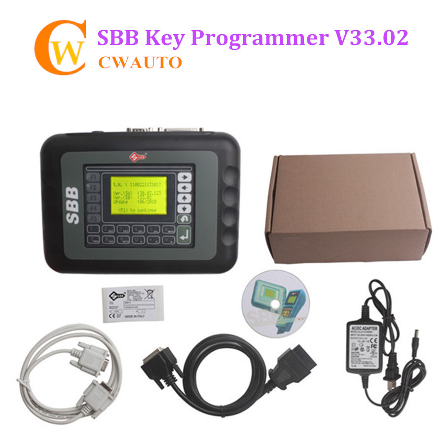 Low Cost SBB V33.02 OBD2 Key Programmer for Program and Add New Key to Immobilizer Need Pin Code Free Shipping