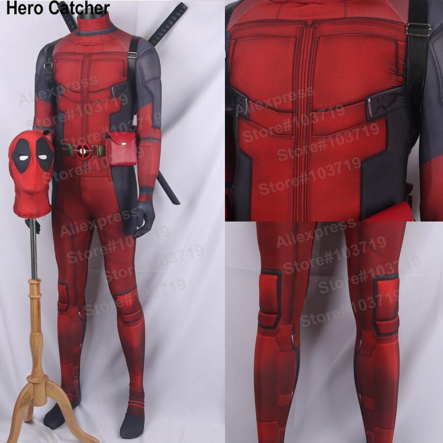 영웅 포수 최신 Deadpool 스판덱스 의상 근육 코믹과 Deadpool 정장 영웅 3D 인쇄 스판덱스 라이크라 젠타이 슈트