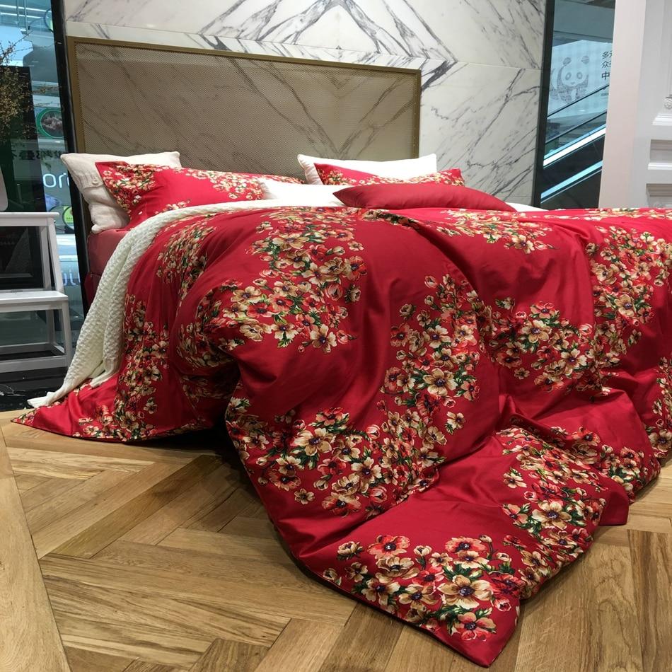 Wedding bed sheet set - Romantic Red Color Wedding Bedding Set Queen King Size Egyptian Cotton Flowers Design Bedding Duvet Cover