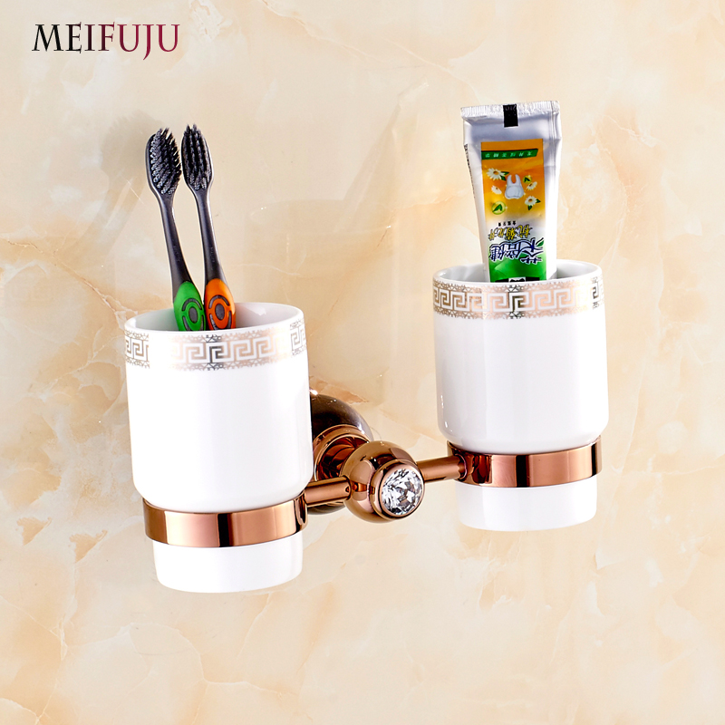 New Arrival Jade Toothbrush Holder Brass Ceramic Cup Tumbler Holders Marble Rose Gold Bathroom accessories Bath products new bullet head bobbin holder with ceramic tube tip protecting lines brass copper material