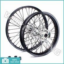Front Rear New 21″x1.6 18″x2.15 Motorcross MX Black Wheel Rim Silver CNC Hub Set for Suzuki RMZ 250 07-15 RMZ 450 05-15
