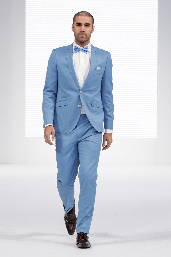 2018 New Arrival Light Blue Formal Men Suit Slim Fit Prom Tuxedo ...