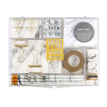Marble White Stationery Kit for Office Supplies Shopkins Stationery Set Gift with 8 Type Stationery Items Pencils Clips Memo Pad