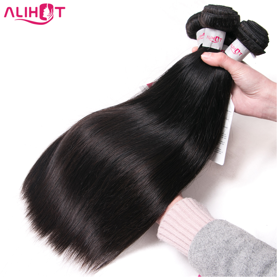 ALI HOT Hair Brazilian Straight Human Hair 3 Bundles Deal 8-28inch Hair Weave Natural Color Free Shipping Remy Hair Extensions
