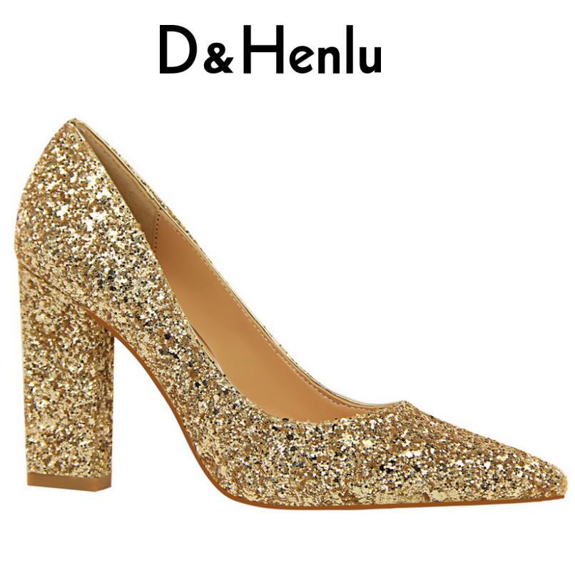 D & Henlu Or Chaussures Pour Femmes Talons hauts Chaussures Pompes Talons 2018 de mariage Chaussures Sexy À Talons Hauts chaussures femmes de luxe de marque