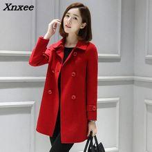 New Warm  Short Wool Blend Ladies Coat Double Breasted Womens Jacket Solid Elegant Korean Fashion Xnxee
