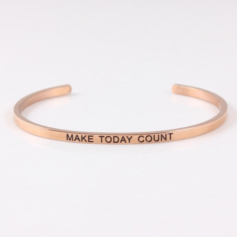 Bracelet en acier inoxydable 316L gravé faire compter aujourd'hui bracelets pour femme de Mantra d'inspiration Positive