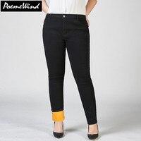 PoemeWind Plus Size Women Warm Thick Plus Velvet Denim Jeans Mujer Winter Skinny High Waist Jeans
