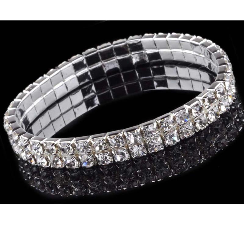 5 8 Rows Vintage Luxury Exquisite Rhinestone Shining Silver Elastic  Bracelet Woman Jewelry 2017 New Fashion Crystal Bracelets ab61dbeaf1ac