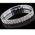 Clear Silver Wedding Bridal Crystal Diamante Rhinestone Stretch Bracelet 2 Rows Cuff Bangle For Women Girls Charm Jewelry Gift