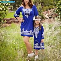 Cutyome 2017 New Mommy And Me Clothes Family Look Mother Daughter Dresses Printed Mom Daughter Kids