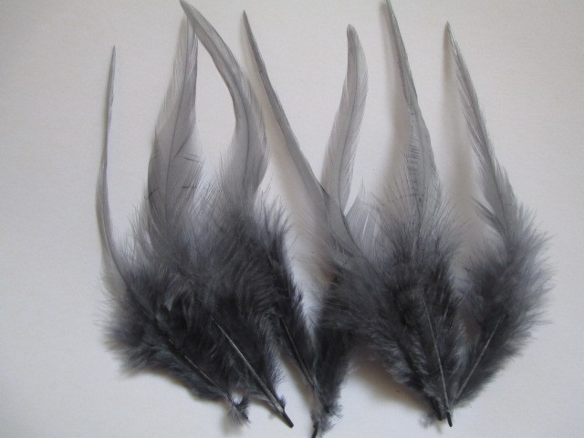 Atacado 20 pcs bonito pescoço cinza penas de galo 10-15 cm/4 a 6 polegadas