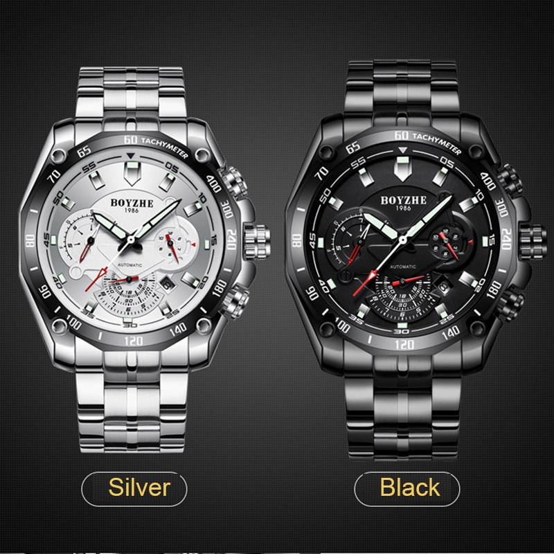 BOYZHE ยี่ห้อผู้ชายนาฬิกาอัตโนมัติ Calenar แฟชั่น Luxury Mechanical นาฬิกาส่องสว่างชายนาฬิกา Reloj Hombre Relogio Masculino-ใน นาฬิกาข้อมือกลไก จาก นาฬิกาข้อมือ บน   3