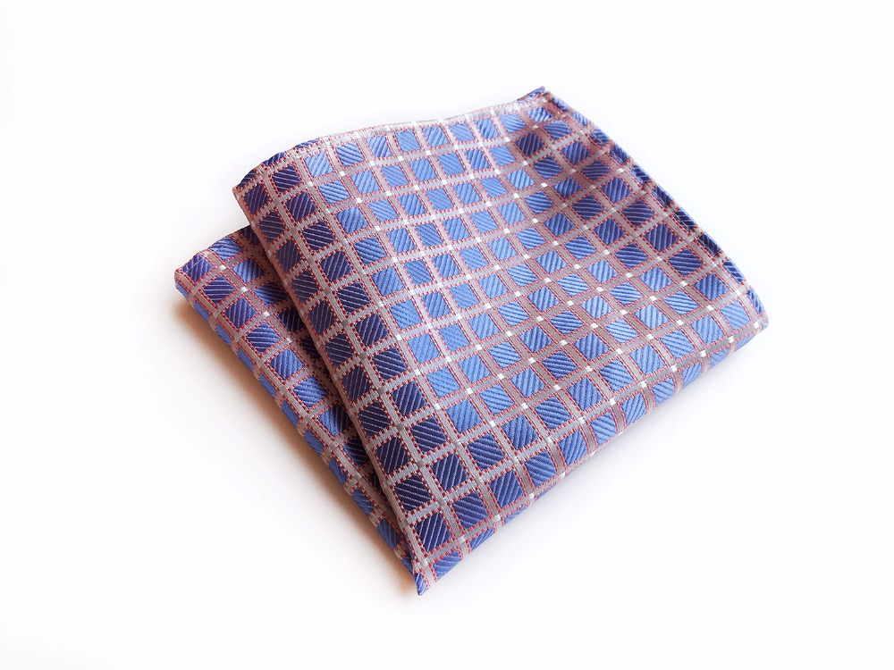 25*25 Cm Men Silk Satin Pocket Square Fashion Grids Checkers Luxury Handkerchief